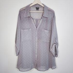 TORRID Polka Dot Print Sheer Button Down Shirt 4